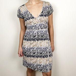 LOFT navy and beige stripe speckled wrap dress
